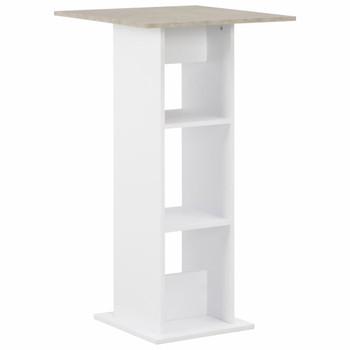 vidaXL Barski stol bijeli i boja betona 60 x 60 x 110 cm