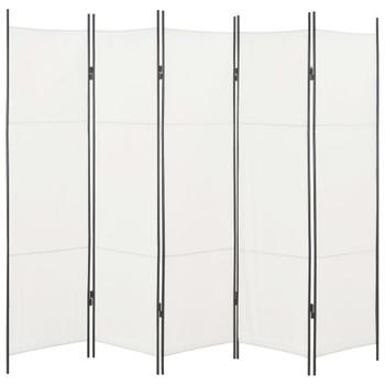 vidaXL Sobna pregrada s 5 panela bijela 250 x 180 cm