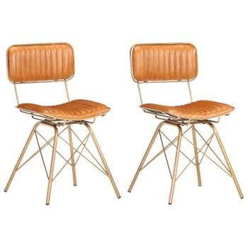 vidaXL Blagovaonske stolice od prave kozje kože 2 kom mjedeno-smeđe