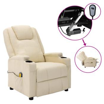 vidaXL Električni masažni naslonjač od umjetne kože krem bijeli