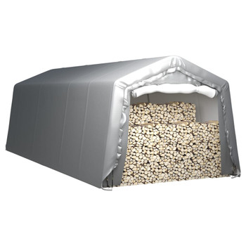 vidaXL Skladišni šator 300 x 750 cm čelični sivi