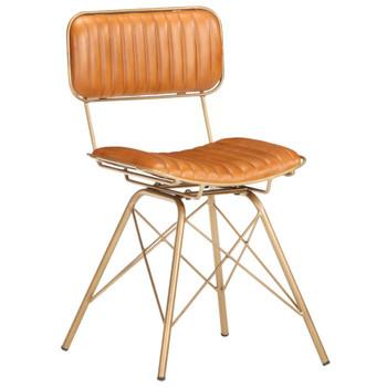 vidaXL Blagovaonske stolice od prave kozje kože 4 kom mjedeno-smeđe
