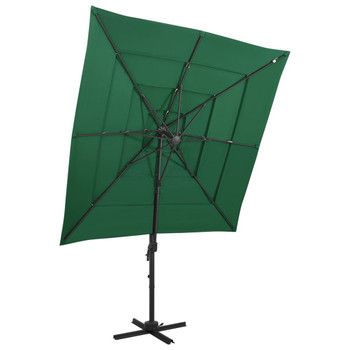 vidaXL Suncobran s 4 razine i aluminijskom šipkom zeleni 250 x 250 cm