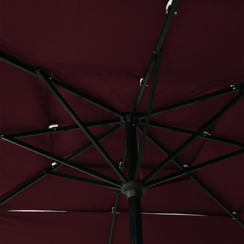 vidaXL Suncobran s 3 razine i aluminijskom šipkom bordo 2,5 x 2,5 m