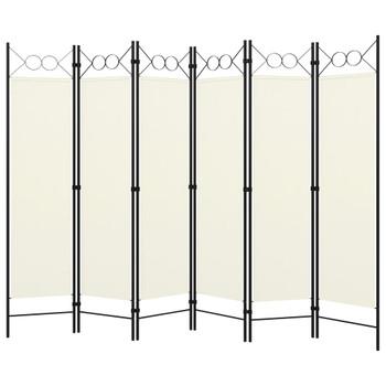 vidaXL Sobna pregrada sa 6 panela krem-bijela 240 x 180 cm