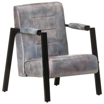 vidaXL Fotelja od prave kozje kože 60 x 80 x 87 cm siva