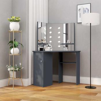 vidaXL Kutni toaletni stolić s LED svjetlom sivi 111 x 54 x 141,5 cm