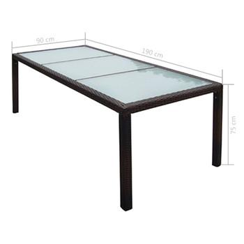 vidaXL Vrtni stol od poliratana i stakla smeđi 190 x 90 x 75 cm