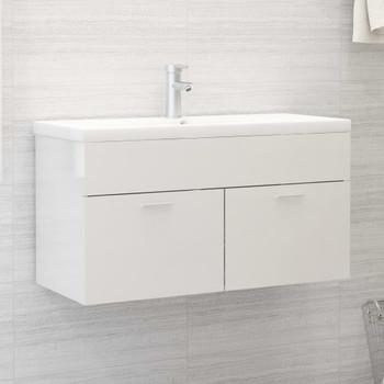 vidaXL Ormarić za umivaonik visoki sjaj bijeli 90x38,5x46 cm iverica