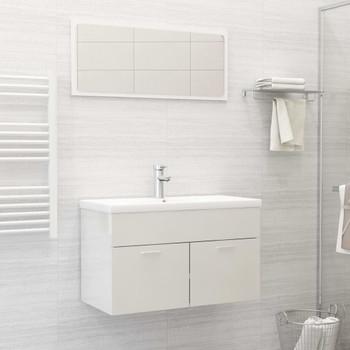 vidaXL 2-dijelni set kupaonskog namještaja sjajni bijeli od iverice