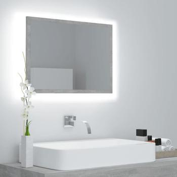 vidaXL LED kupaonsko ogledalo siva boja betona 60x8,5x37 cm od iverice