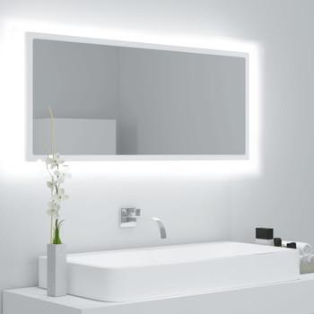 vidaXL LED kupaonsko ogledalo bijelo 100 x 8,5 x 37 cm od iverice