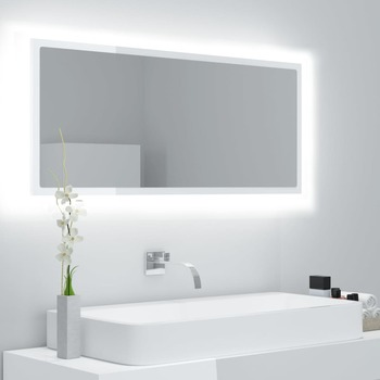 vidaXL LED kupaonsko ogledalo visoki sjaj bijelo 100x8,5x37 cm iverica