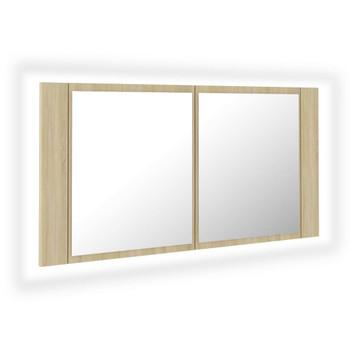 vidaXL LED kupaonski ormarić s ogledalom boja hrasta 90 x 12 x 45 cm