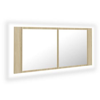 vidaXL LED kupaonski ormarić s ogledalom boja hrasta 100 x 12 x 45 cm