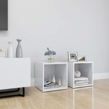 vidaXL TV ormarići 2 kom visoki sjaj bijeli 37 x 35 x 37 cm od iverice