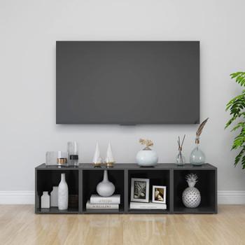 vidaXL TV ormarići 4 kom visoki sjaj sivi 37 x 35 x 37 cm od iverice