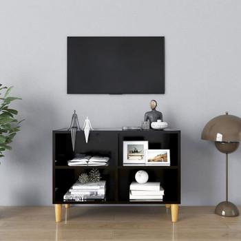 vidaXL TV ormarić s nogama od masivnog drva crni 69,5 x 30 x 50 cm