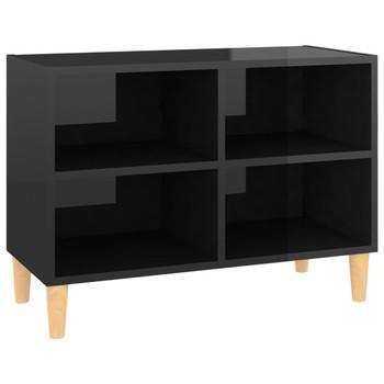 vidaXL TV ormarić s drvenim nogama visoki sjaj crni 69,5x30x50 cm