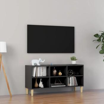 vidaXL TV ormarić s nogama od masivnog drva sivi 103,5 x 30 x 50 cm