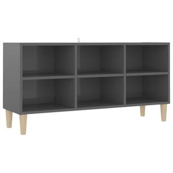 vidaXL TV ormarić s drvenim nogama visoki sjaj sivi 103,5 x 30 x 50 cm