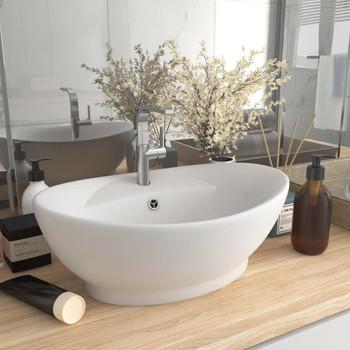 vidaXL Luksuzni ovalni umivaonik mat bijeli 58,5 x 39 cm keramički