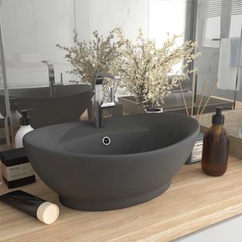 vidaXL Luksuzni ovalni umivaonik mat tamnosivi 58,5 x 39 cm keramički