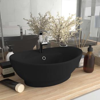 vidaXL Luksuzni ovalni umivaonik mat crni 58,5 x 39 cm keramički