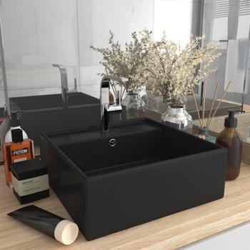vidaXL Luksuzni četvrtasti umivaonik mat crni 41 x 41 cm keramički