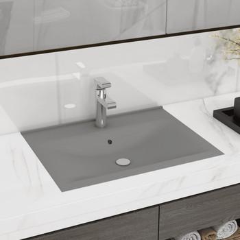 vidaXL Luksuzni umivaonik mat svjetlosivi 60 x 46 cm keramički