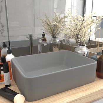 vidaXL Luksuzni umivaonik mat svjetlosivi 41 x 30 x 12 cm keramički