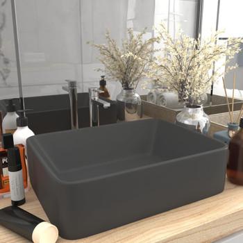 vidaXL Luksuzni umivaonik mat tamnosivi 41 x 30 x 12 cm keramički
