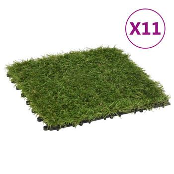 vidaXL Pločice umjetne trave 11 kom 30 x 30 cm zelene
