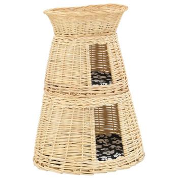 vidaXL 3-dijelni set košara za mačke s jastucima 47x34x60 cm od vrbe