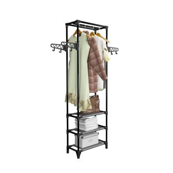 vidaXL Stalak za odjeću od čelika i netkane tkanine 55x28,5x175 cm crni