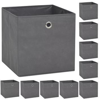 vidaXL Kutije za pohranu od netkane tkanine 10 kom 32x32x32 cm sive