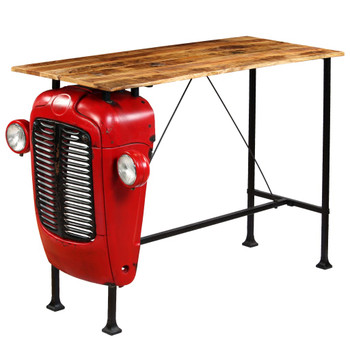 vidaXL Barski stol u obliku traktora od masivnog drva manga crveni 60 x 150 x 107 cm