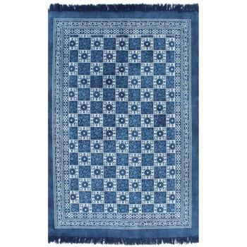 vidaXL Ćilim od pamuka s uzorkom 160 x 230 cm plavi