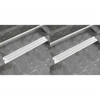 vidaXL Linearni odvod za tuš 2 kom valoviti 830 x 140 mm čelični