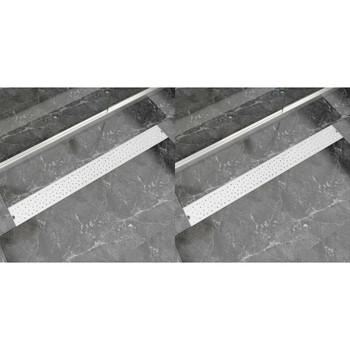 vidaXL Linearni odvod za tuš 2 kom s kružićima 1030 x 140 mm od čelika