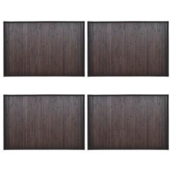 vidaXL Prostirke za kadu od bambusa 4 kom 60 x 90 cm tamnosmeđe