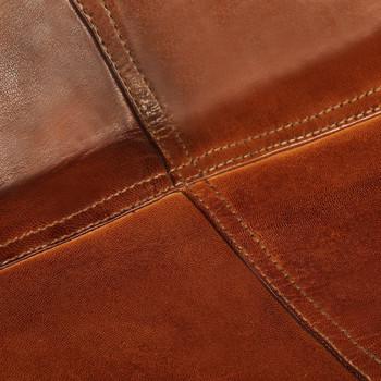 vidaXL Leptir-stolice od prave kože 2 kom smeđe dječja veličina