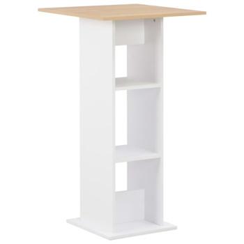 vidaXL Barski stol bijeli i boja hrasta sonome 60 x 60 x 110 cm