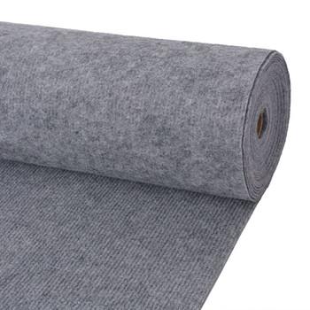vidaXL Svečani tepih rebrasti 1,6 x 10 m sivi