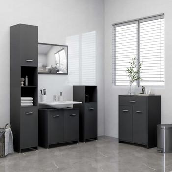 vidaXL 4-dijelni set kupaonskog namještaja sivi
