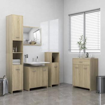 vidaXL 4-dijelni set kupaonskog namještaja boja hrasta sonome
