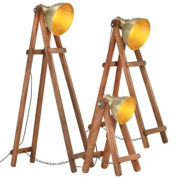 vidaXL Podne svjetiljke 3 kom mjedene E27 od masivnog drva manga