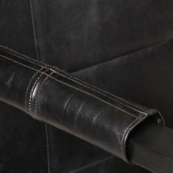 vidaXL Fotelja od prave kozje kože 60 x 80 x 87 cm crna