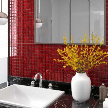 vidaXL Samoljepljive pločice s mozaikom 22 kom crvene 30x30 cm staklo
