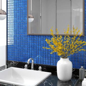 vidaXL Samoljepljive pločice s mozaikom 22 kom plave 30 x 30 cm staklo